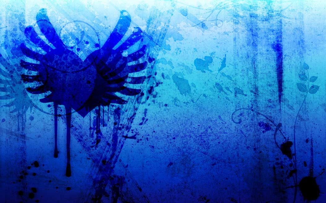Blue and black hearts background