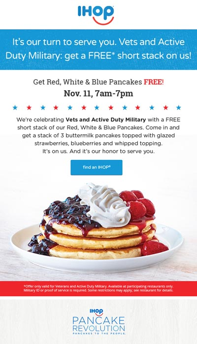 Is Ihop Giving Free Food For Veterans Day